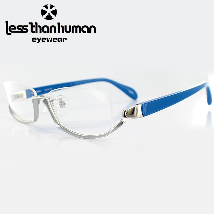 【送料無料】【日本製】レスザンヒューマン アンダーリムメガネ NEMA 1010 54サイズ スクエア シルバー メンズ 男性用 less than human 眼鏡 PCメガネ ブルーライトカット 度付き対応可