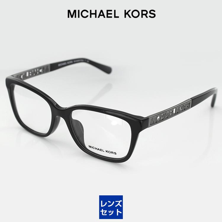 【送料無料】【レンズ付き】マイケルコース メガネフレーム UV420レンズ付き MK8008F 3005 52サイズ ウエリントン ブラック レディース 女性用 MICHAEL KORS 眼鏡 PCメガネ ブルーライトカット 度付き対応可