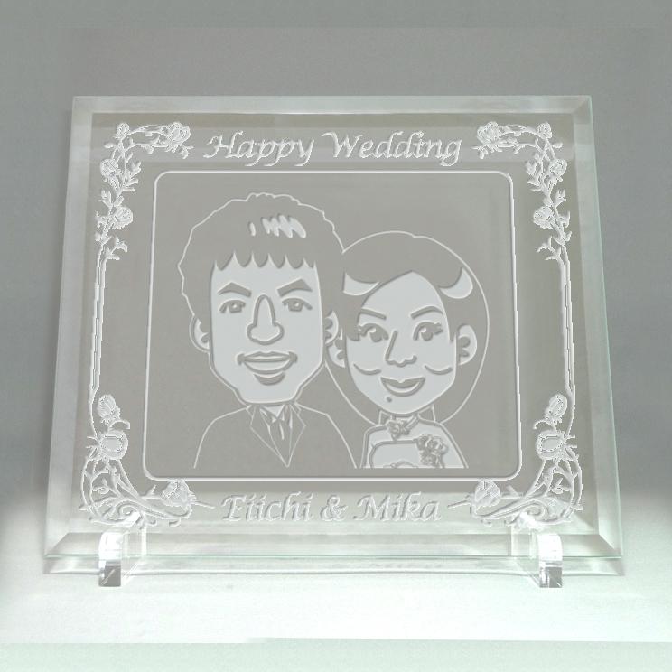 似顔絵ウェルカムボード ガラス彫刻タイプ