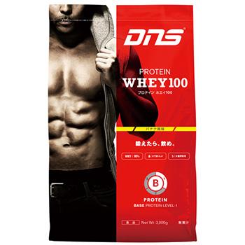 【スポーツ館】DNS プロテイン ホエイ 100(Protein Whey 100)3kg(1食/33g)バナナ風味BASE LEVEL-1 ベーシック