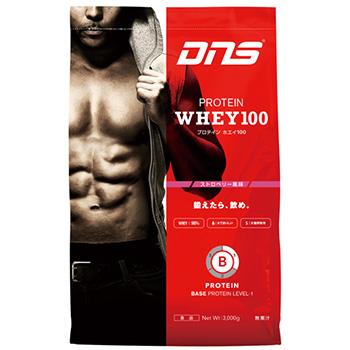 【スポーツ館】DNS プロテイン ホエイ 100(Protein Whey 100)3kg(1食/33g)ストロベリー風味BASE LEVEL-1 ベーシック