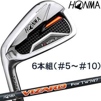 【【最大3300円OFFクーポン】】HONMA GOLF(本間ゴルフ) 日本正規品 TOUR WORLD(ツアーワールド) TW747 P アイアン 2019モデル VIZARD For TW747 50 カーボンシャフト 6本セット(I#5-I#10) ※レフトハンドモデル(左用)※