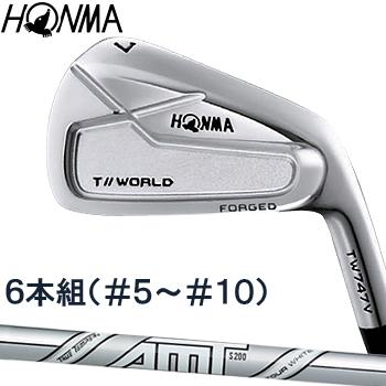 HONMA GOLF(本間ゴルフ) 日本正規品 TOUR WORLD(ツアーワールド) TW747 V アイアン 2019モデル AMT TOUR WHITE スチールシャフト 6本セット(I#5-I#10)