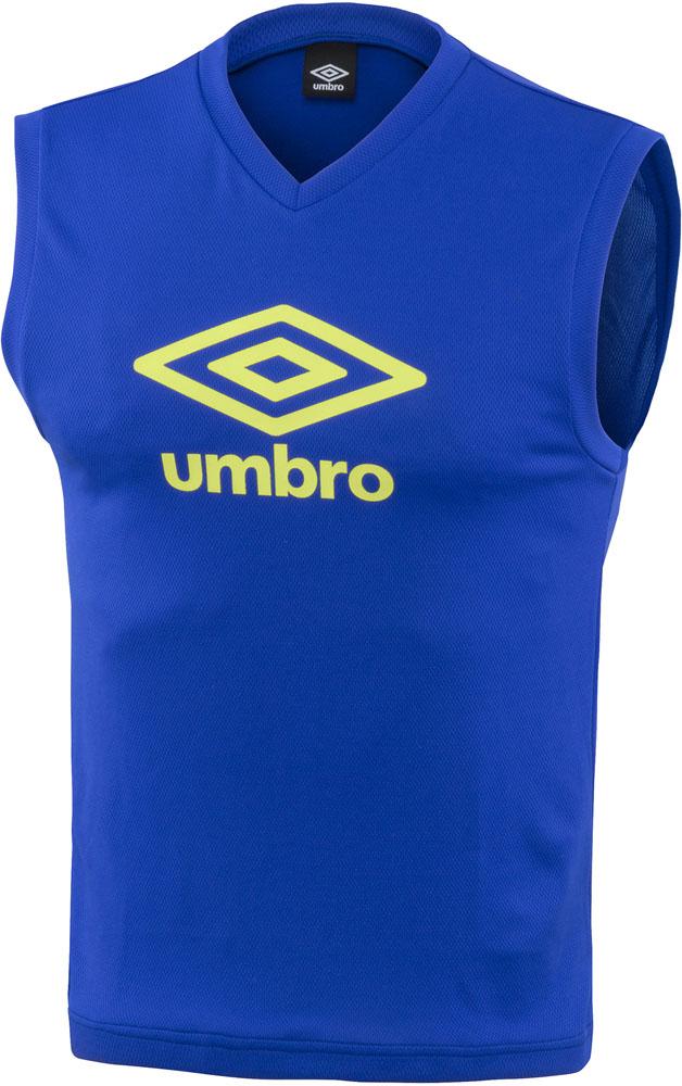 UMBRO お金を節約 アンブロ TRジュニア用ノースリーブプラシャツ 高額売筋 ブルー V首