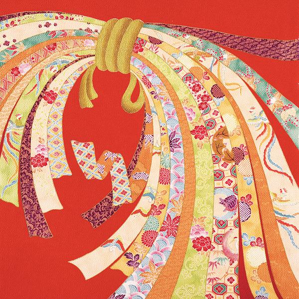 カード5倍+5%還元+200円OFFクーポン配布中!風呂敷 正絹 約70cm ちりめん 二巾 束ね熨斗 13号 縮緬 友禅 ふろしき 朱 絹100% 名入れ可 日本製 一升餅 一生餅 1歳 誕生日 着物 重箱用 フロシキ お土産 送料無料
