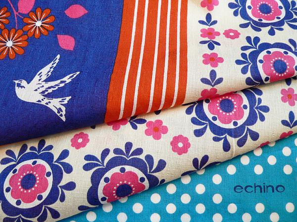fs3gm made in 24 furoshiki large size echino (エチノ) cotton width furoshiki garden (garden) blue (97cm) Japan