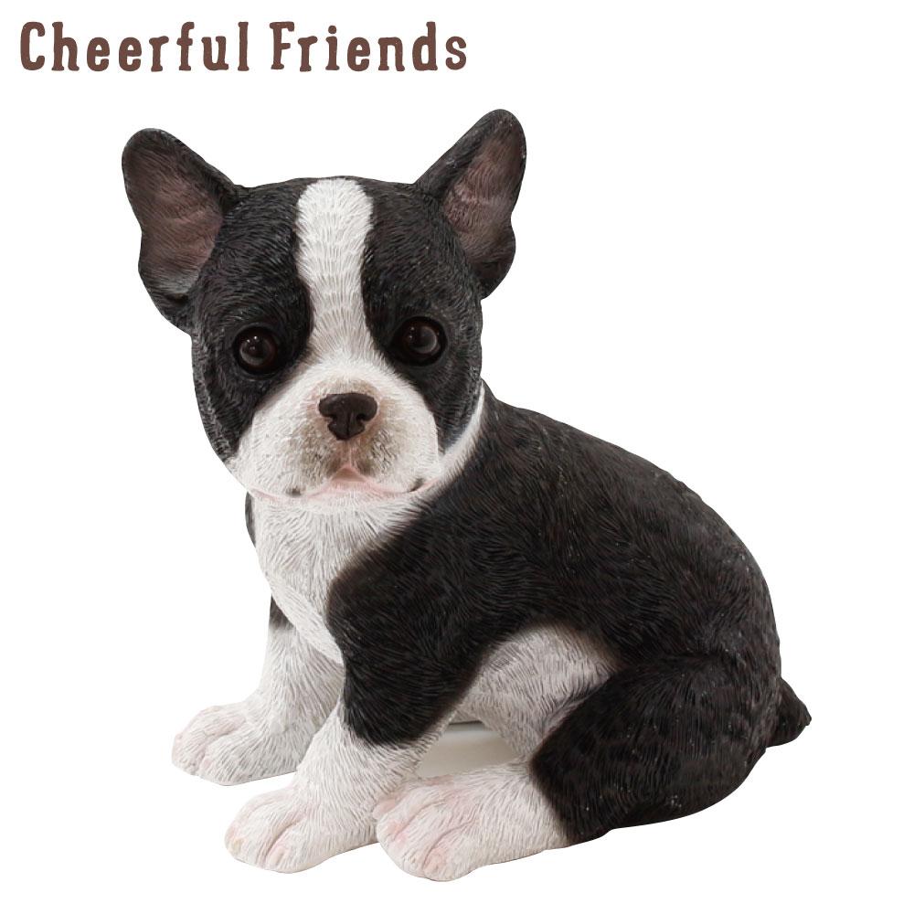 今にも動き出しそうな動物のマスコット 安全 [並行輸入品] インテリア小物 チアフルフレンズ フレンチブルドックのエース 犬 イヌ 置物 小物 リアル あす楽対応 装飾 動物 かわいい 可愛い