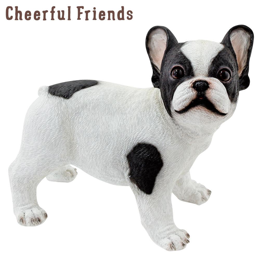 今にも動き出しそうな動物のマスコット インテリア小物 チアフルフレンズ フレンチブルドックのペロ 犬 イヌ 置物 かわいい 動物 あす楽対応 装飾 可愛い 小物 売り込み チープ リアル