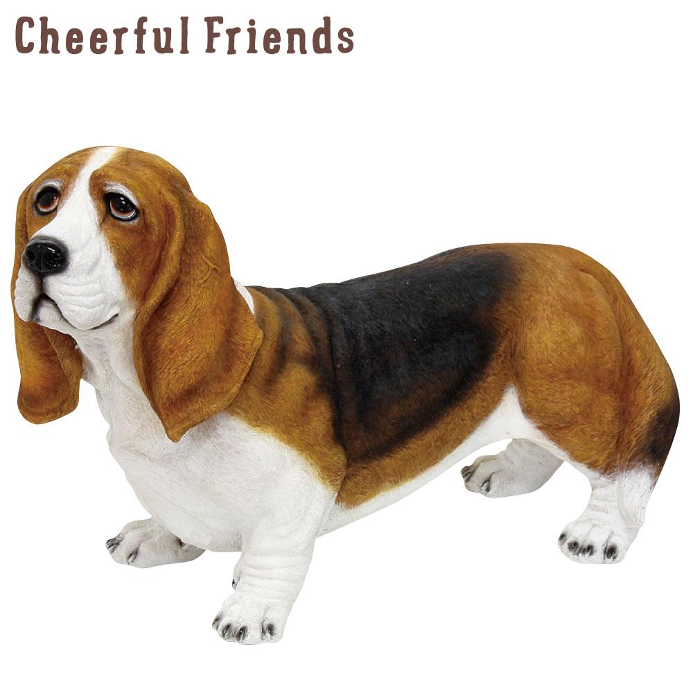 今にも動き出しそうな動物のマスコット インテリア小物 チアフルフレンズ バセットハウンドのチャールズ 犬 イヌ 特別セール品 置物 かわいい 可愛い 動物 リアル 市場 小物 あす楽対応 装飾