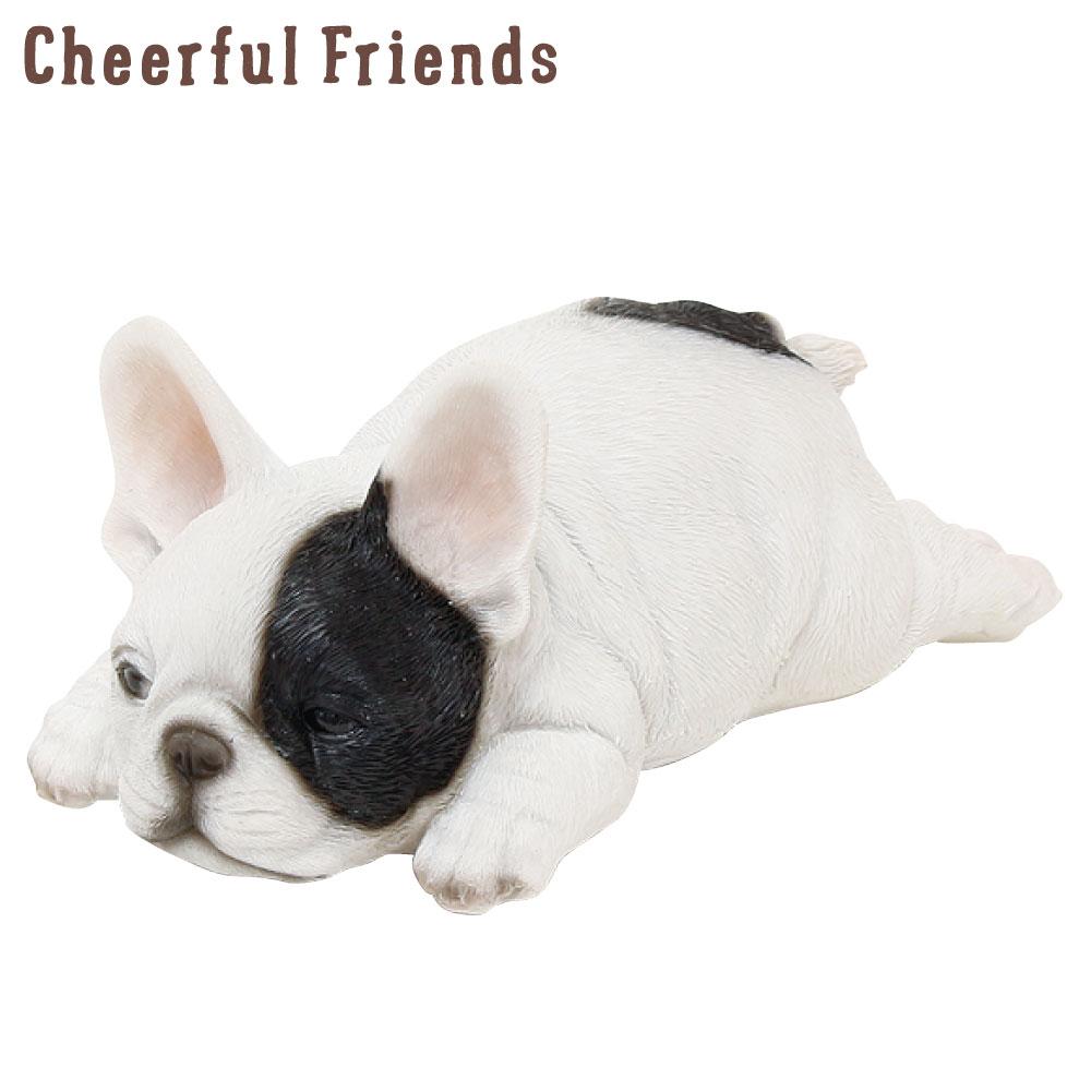 今にも動き出しそうな動物のマスコット インテリア小物 チアフルフレンズ フレンチブルドッグのブル 犬 イヌ 置物 小物 かわいい 中古 動物 あす楽対応 可愛い リアル 装飾 2020 新作