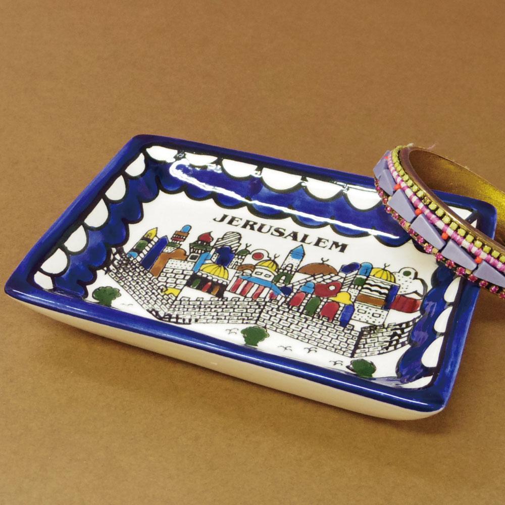 パレスチナ製ハンドペイントの食器 陶器製 食器 セイントエルサレム スクエアープレート 希望者のみラッピング無料 角皿 あす楽対応 イメージ パレスチナ インテリア エルサレム 全商品オープニング価格
