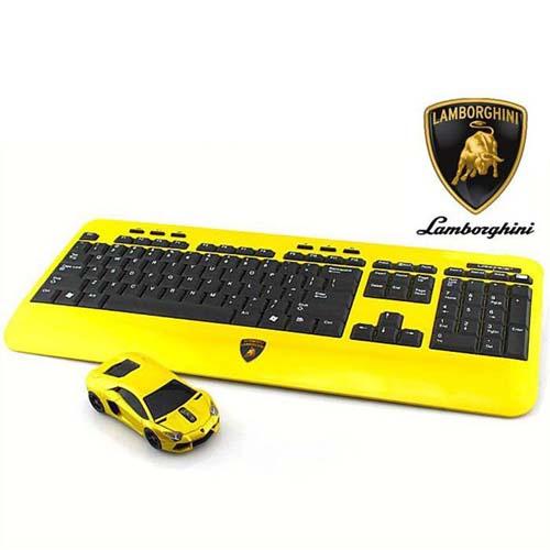 [ポイント10倍][SB]LANDMICE Lamborghini LP700 2.4G無線マウス+キーボード (イエロー) LB-LP700KM-YL