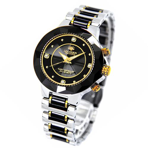 [ポイント10倍][SB]J.HARRISON 4石天然ダイヤモンド付ソーラー電波婦人用時計 JH-024LBB