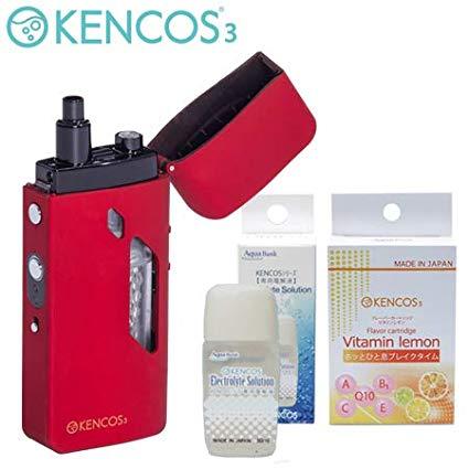 【プレゼント付】 ポータブル水素ガス吸引器具 KENCOS3 (レッド)スターターセット 電解液 フレーバーカートリッジ1個 /在庫あり/ 送料無料 ブリージングデバイス ブレス