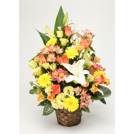 季節のお花おまかせフラワーアレンジMサイズ黄色系