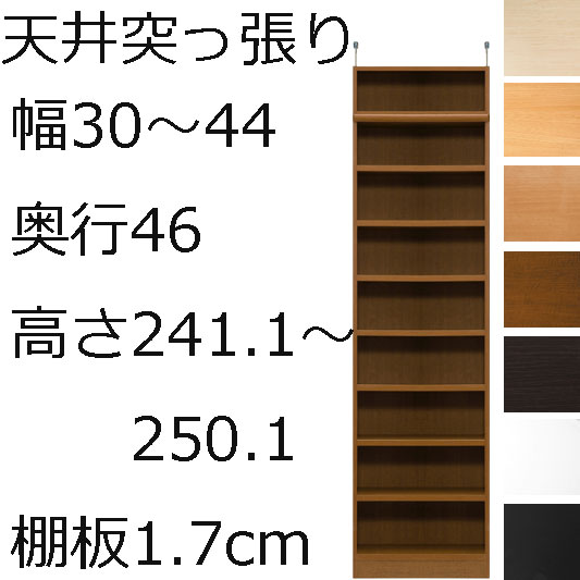 本棚・書棚・壁面収納 オーダーメイド 幅30~44 奥行き46(ラージ) 高さ241.1~250.1cm(棚板1.7cm厚標準)