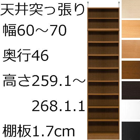 本棚・書棚・壁面収納 オーダーメイド 幅60~70 奥行き46(ラージ) 高さ259.1~268.1cm(棚板1.7cm厚標準)