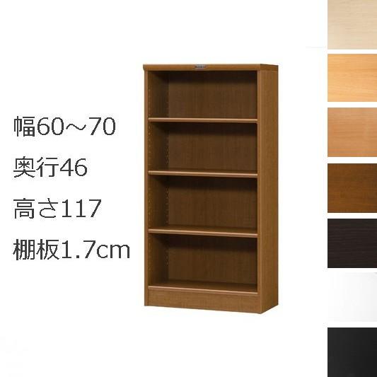 本棚・書棚 オーダーメイド 幅60~70 奥行き46(ラージ) 高さ117cm(棚板1.7cm厚標準)