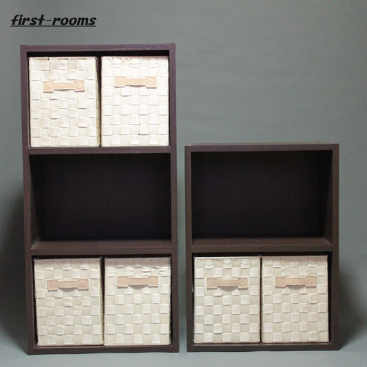カラーボックス 2段と3段 2個セット ダークブラウン 収納ボックスSアイボリー6個付