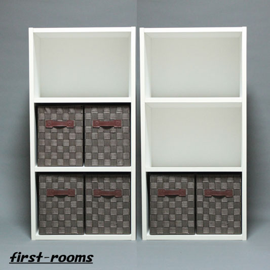 カラーボックス 3段 2個セット ホワイト 収納ボックスSブラウン6個付