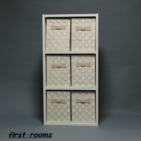 カラーボックス3段 ホワイト 収納ボックスSアイボリー6個付