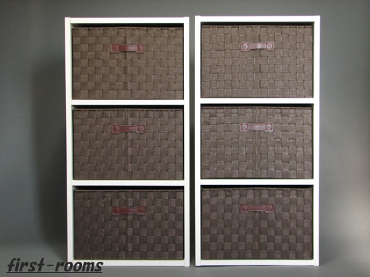 カラーボックス3段  2個セット ホワイト 収納ボックス6個付