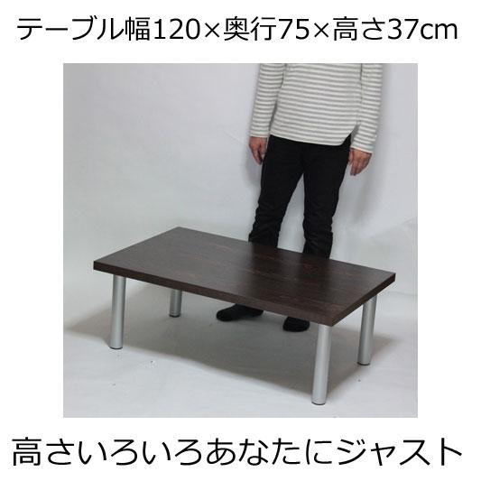 ローテーブル 幅120×奥行き75×高さ37cm ダークブラウン(シルバー脚)