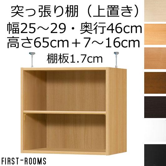 上置き(本棚・書棚) オーダーメイド 幅25~29 奥行き46(ラージ) 高さ65cm(棚板1.7cm厚標準)