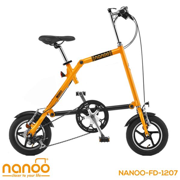 折りたたみ自転車 12インチ 軽量アルミ シマノ7段変速 折りたたみ自転車 前後ライト トップチューブバッグ 専用輪行袋付 NANOO FD-1207【組立必要品】