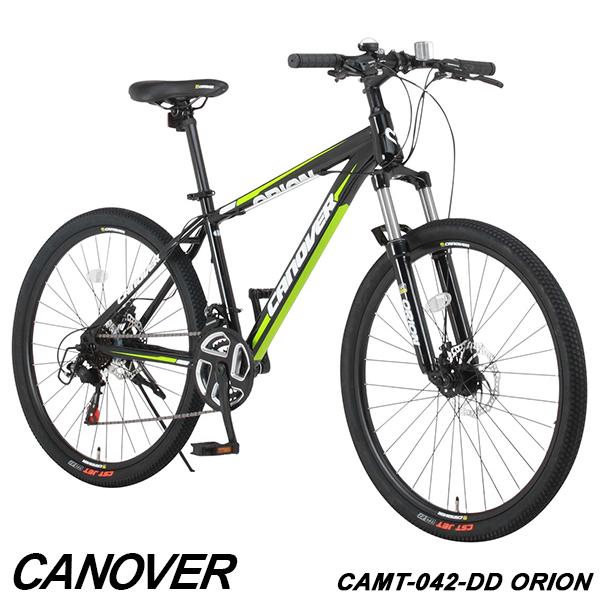 26インチ CAMT-042-DD ORION【組立必要品】 自転車 マウンテンバイク ディスクブレーキ ブロックタイヤ CANOVER 21段変速 ロングリーチサスペンション カノーバー シリコンライト付