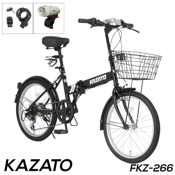 折りたたみ自転車 20インチ カゴ付き 折り畳み自転車 シマノ6段変速ギア カギ ライトプレゼント KAZATO カザト FKZ-206【組立必要品】