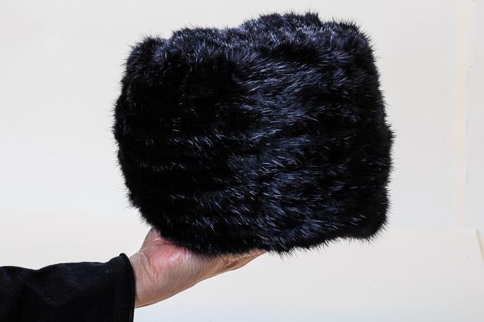 【ふるさと納税】ブラックミンク ヤーン帽子[6197884]