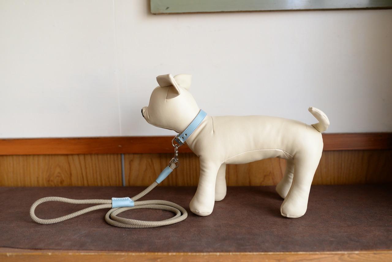 【ふるさと納税】水色の牛革を使った小型犬用の首輪とリードセット