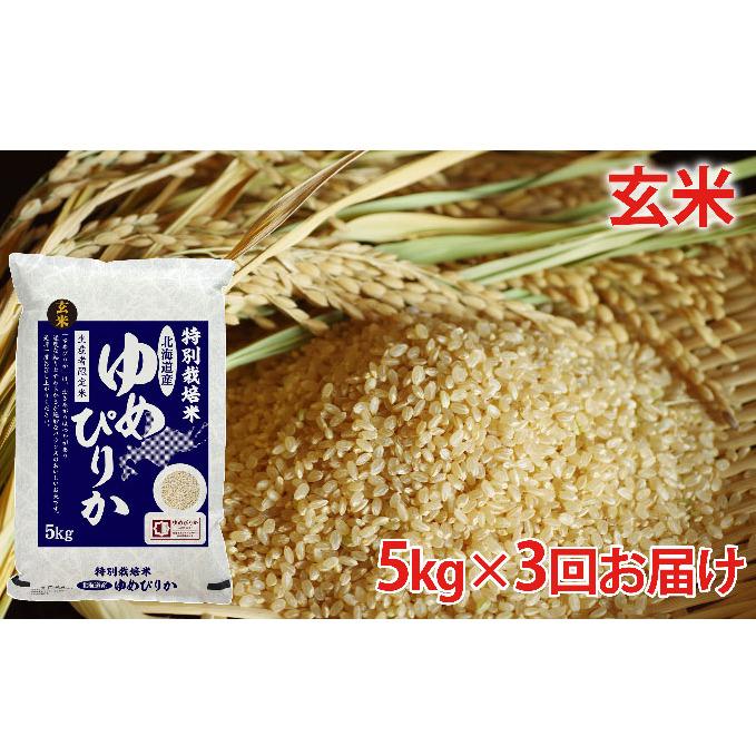 【ふるさと納税】玄米 北海道赤平産ゆめぴりか特別栽培米5kg×3回お届け 【定期便・玄米・お米・ゆめぴりか】