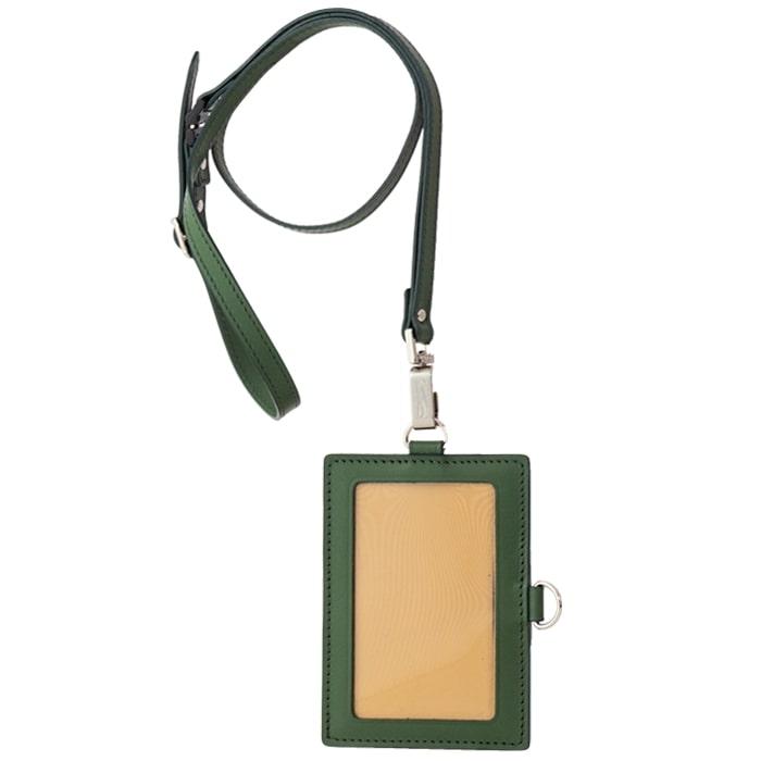 【ふるさと納税】[AN-76] SOMES AN-76 IDカードケース&ネックストラップ(グリーン) 革 革製品