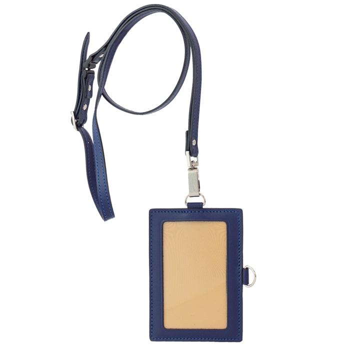 【ふるさと納税】[AN-76] SOMES AN-76 IDカードケース&ネックストラップ(ネイビー) 革 革製品