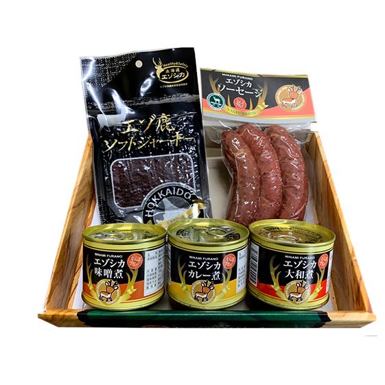 【北海道南富良野町】 【ふるさと納税】エゾ鹿肉は森の恵み! 鹿肉ギフトセット(ソーセージ付) 【鹿肉・お肉・ソーセージ・肉の加工品・おかず・お弁当・おつまみ・ジャーキー・缶詰】
