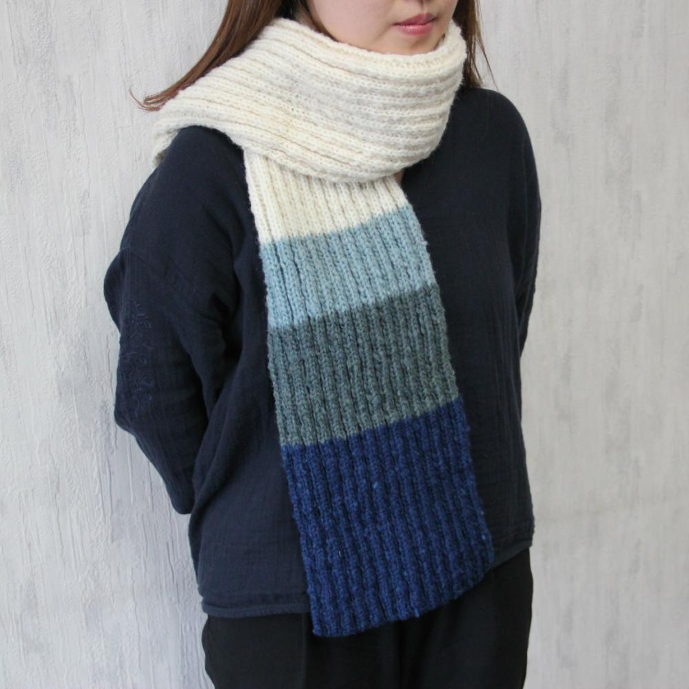 【ふるさと納税】焼尻めん羊100%使用 手編みマフラー