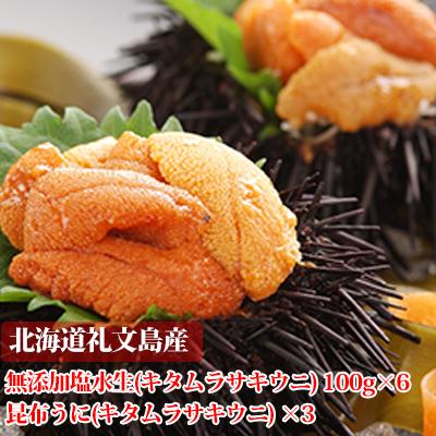 【ふるさと納税】北海道礼文島産 塩水生うに(キタムラサキウニ)100g×6個と昆布うに(キタムラサキウニ)4個 【雲丹・魚貝類】 お届け:2020年5月中旬~9月15日まで