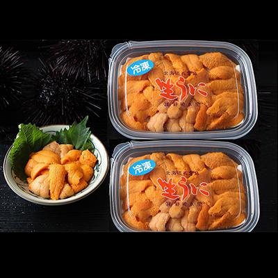 【ふるさと納税】北海道礼文島産 冷凍生うに(エゾバフンウニ) 80g×2個 【魚貝類・ウニ】