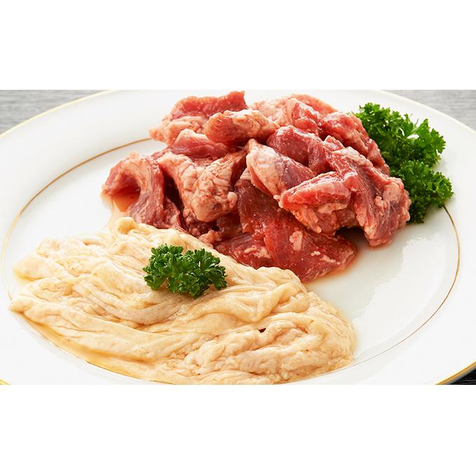 【ふるさと納税】北海道産 豚の焼肉セット1.2kg(豚サガリ700g・豚ホルモン500g) オホーツクサロマ焼肉店特製! 【お肉・牛肉・焼肉・バーベキュー・牛肉/ホルモン】