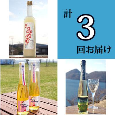 【ふるさと納税】北海道壮瞥産 特産品で作ったオススメ飲料 計3回お届け 【定期便・お酒・飲料類・炭酸飲料・ワイン】