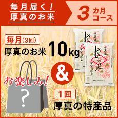 【ふるさと納税】3ヵ月!毎月届く定期便「厚真のお米」10kg+お楽しみ特産品1回コース