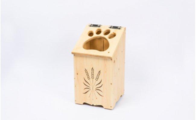 天然木で手づくりしている優しい風合いのデザインでインテリアとしてもお部屋に馴染みます! 【ふるさと納税】天然木の手づくり「ごみ箱 犬の肉球」【受注生産】