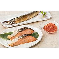 【ふるさと納税】えりも産銀聖鮭といくら醤油漬、さんま漬魚セット 【魚貝類・鮭・サーモン・イクラ】