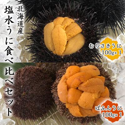 【ふるさと納税】【2021年6月から発送】北海道産塩水うに食べ比べセット(ばふんうに・むらさきうに各100g) 【魚貝類・ウニ】 お届け:2021年6月1日~8月31日まで