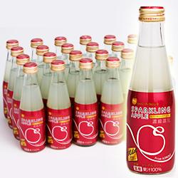 【ふるさと納税】青森県鰺ヶ沢町 シャイニー スパークリングアップル(マイルド) 200ml瓶×24本 りんごジュース 送料無料