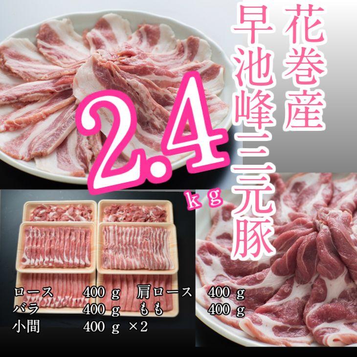 【ふるさと納税】花巻産早池峰三元豚2.4kgセット