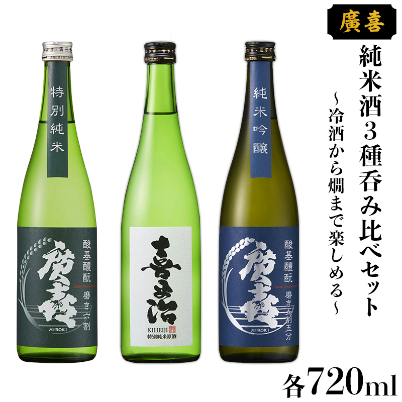【ふるさと納税】0706【廣喜】純米酒3種呑み比べセット~冷酒から燗まで楽しめる~