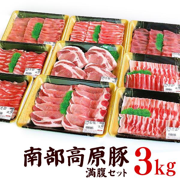 【ふるさと納税】南部高原豚ふるさと納税限定満腹セット 合計3.0kg
